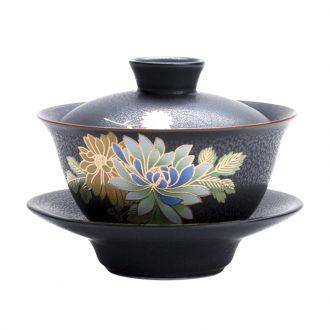 In tang dynasty kiln tureen kung fu tea set large Japanese ceramics your kiln worship cup tea bowl parties spend three to bowl