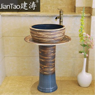Basin of pillar type lavatory a whole floor pillar carved color glaze ceramic art basin outdoor lavabo