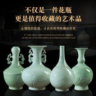 Jingdezhen ceramic vases, hand-carved lotus shadow blue glaze vase imitation antique ceramic porch rich ancient frame furnishing articles