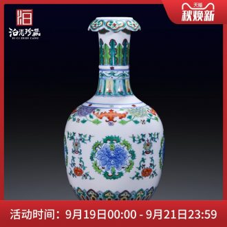 Jingdezhen ceramics bucket color lucky bamboo flower arranging household of Chinese style household table decoration vase furnishing articles sitting room