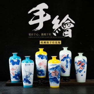 Jingdezhen ceramics hand-painted vases, small pure and fresh and vase vase sitting room porch rich ancient frame decoration furnishing articles