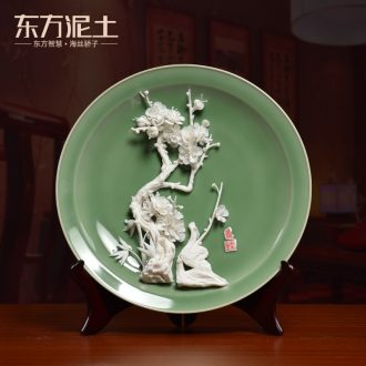 Oriental clay ceramic flowers 12 inches hang dish furnishing articles partition decoration/TV ark impressions of fluidity H31-01 a