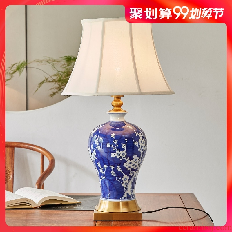 Chinese marriage room bedroom lamp contracted classic creative household berth lamp ceramic light luxury sitting room adornment lamps and lanterns