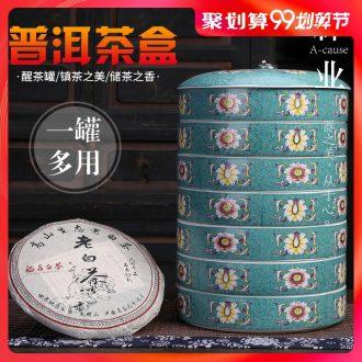 Auspicious industry puer tea box caddy seven loaves receives large ceramic tea warehouse wake sealer tank caddy