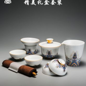 RongShan hall colored enamel kung fu tea set gift tureen masters cup of a complete set of ceramic tea to wash the home office