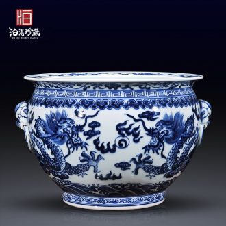 Jingdezhen ceramics antique blue-and-white cornucopia ears dragon cylinder writing brush washer new Chinese style flower pot sitting room aquarium furnishing articles
