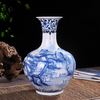 Jingdezhen ceramics vase pure manual embryo hand-painted blue and white porcelain vase decoration craft collection furnishing articles