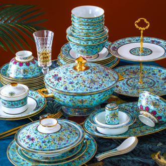 Fire color - home dishes suit high-grade bone China tableware dishes Chinese jingdezhen ceramics colored enamel dishes