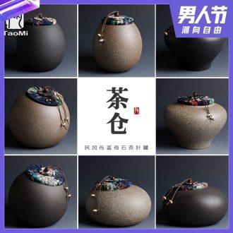 Tao fan zen black small wake receives creative caddy modelling of black tea warehouse small sealed ceramic POTS