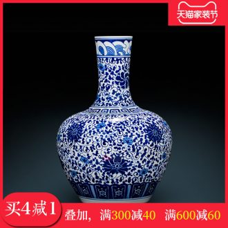 Jingdezhen blue and white tie up lotus flower small Chinese antique hand-painted ceramic vase mouth a bigger home sitting room adornment is placed