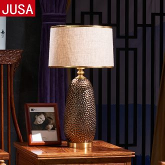 American whole copper ceramic sitting room adornment retro desk lamp hall study bedroom creative household sweet bedside table lamp