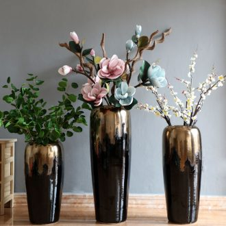 Modern light American european-style luxury ground dry flower vases, flower arrangement sitting room place landscape decorative porcelain vase