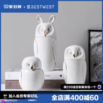 BEST WEST owl storage tank ceramic receive soft candy jar sitting room adornment creative furnishing articles