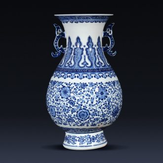 Jingdezhen ceramics imitation qianlong hand-painted blue and white porcelain vases, flower arrangement of the sitting room porch decoration of new Chinese style furnishing articles