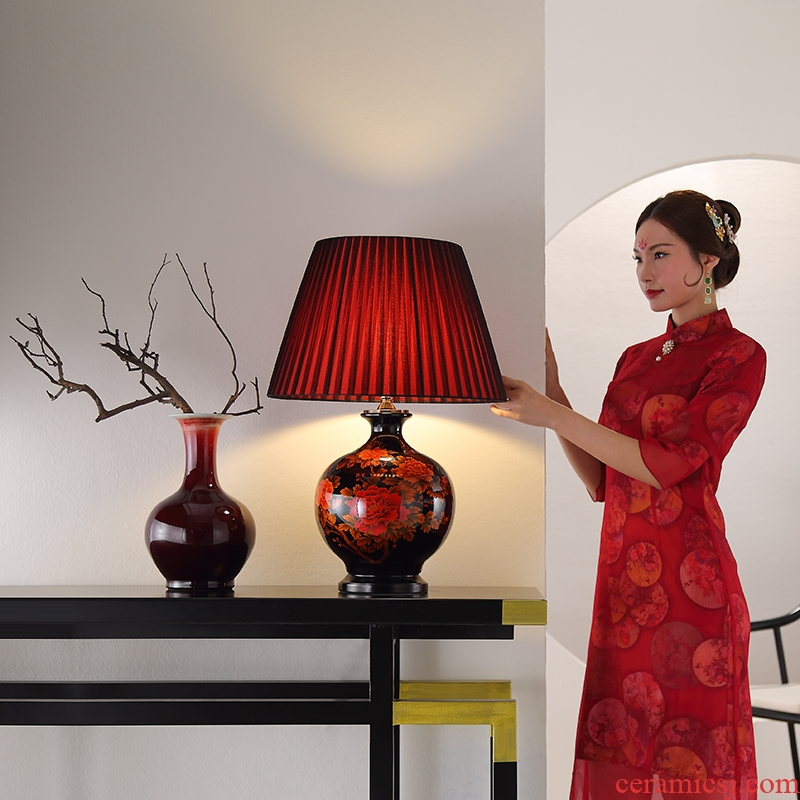 Lamp act the role ofing furnishing articles furnishing articles form a complete set of new Chinese style ceramic vase cut desktop art contemporary and contracted hand-painted ornaments