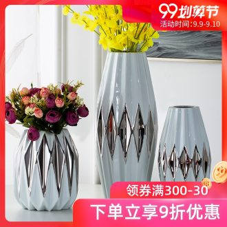 Jingdezhen ceramic silver vase northern wind furnishing articles sitting room dry flower flower implement small and pure and fresh home decoration decoration