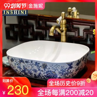 Gold cellnique basin that wash a face hand on the plate of jingdezhen ceramic lavabo lavatory bath art basin of rectangle