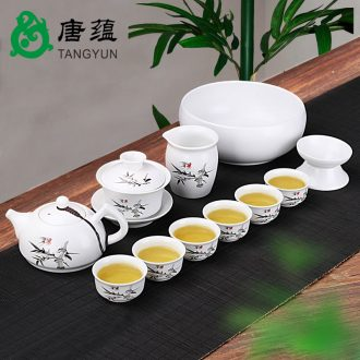 Tang aggregates ceramic kung fu tea set suit household teapot contracted and contemporary tea cups dehua white porcelain small set of ideas