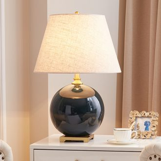 Sitting room lamp American contracted and contemporary bedroom berth lamp European new Chinese style villa atmosphere full of copper ceramic lamp