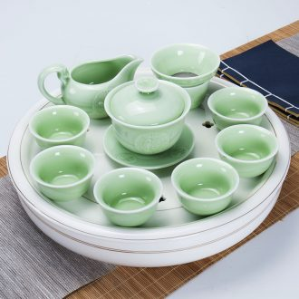 Ronkin tea set suit household contracted kung fu tea tea ceramic tea tea tray is a complete set of tea cups