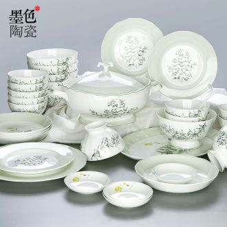 Jingdezhen Chinese bone porcelain tableware suit household creative dishes suit combination of pale green jade lotus mouth plate of ceramics