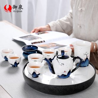 Imperial springs hand-painted Japanese kung fu tea set suit household contracted teapot teacup ceramic dry tea set tea table