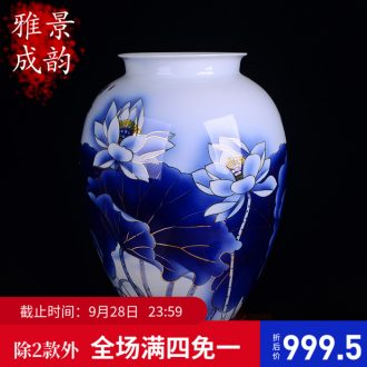 Hand the colour blue and white porcelain of jingdezhen chinaware lotus flower vase sitting room study Chinese style adornment furnishing articles