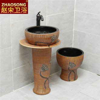 Pillar type restoring ancient ways outdoor lavatory washbasins courtyard northern European outdoor floor pillar ceramics basin