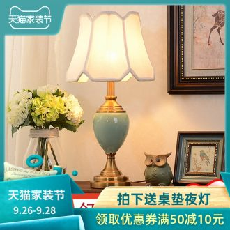 American bedroom berth lamp creative household contracted and contemporary study living room warm and creative ceramic lamp