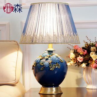 New Chinese style classical pure coppers ceramic desk lamp warm home sitting room creative contracted their study bedroom berth lamp