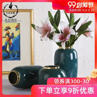 New home sitting room adornment of jingdezhen ceramic vases, creative home furnishing articles into dry vase decoration three-piece suit