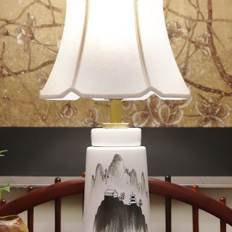 New Chinese style lamp ceramic decoration art study zen Chinese wind and contemporary and contracted sitting room the bedroom of the head of a bed
