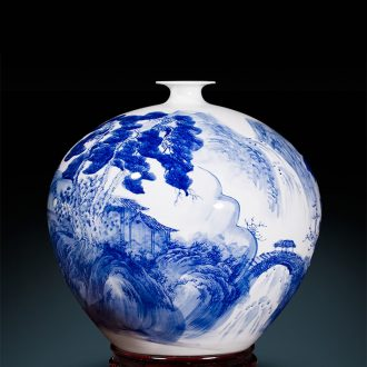 Master of jingdezhen ceramic hand-painted antique Chinese blue and white porcelain vases, flower arrangement sitting room rich ancient frame handicraft furnishing articles