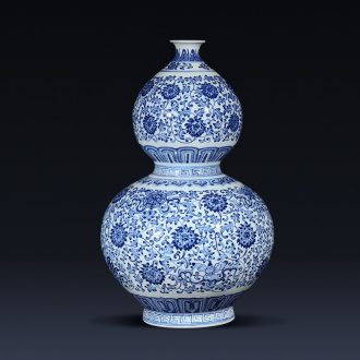 Jingdezhen ceramics imitation qianlong blue tie up branch lotus the gourd of the sitting room porch decoration of new Chinese style furnishing articles