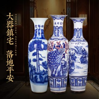 Jingdezhen ceramics hand-painted hotel opening moved into the sitting room of large blue and white porcelain vase furnishing articles furnishing articles