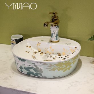 Million birds ceramic bathroom wash lavatory art stage basin mesa of rectangle lavabo household gold ivy