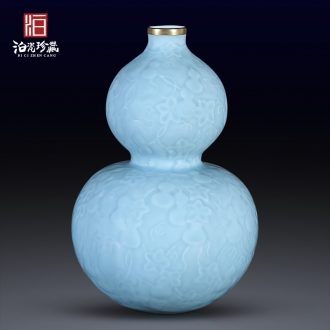 Sons of jingdezhen chinaware paint blue glaze carving ten thousand generations gourd bottle home sitting room adornment flower arranging furnishing articles