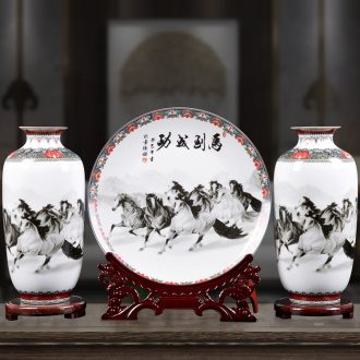 Jingdezhen ceramic furnishing articles three-piece vase household act the role ofing is tasted flower arranging office of contemporary and contracted sitting room adornment