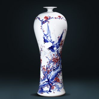 Master of jingdezhen ceramics hand-painted beaming Chinese blue and white porcelain vase large sitting room porch place