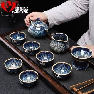 Recreational product jingdezhen kiln built red glaze, office tea set oil droplets of a complete set of silver inlaid auspicious sweet