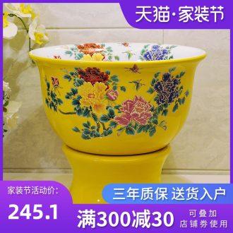 Package mail European pastoral jingdezhen art basin - mop mop pool, mop pool & ndash; Yellow and colorful