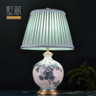 American desk lamp ceramic decoration art of contemporary and contracted hand-painted peony copper whole sitting room the bedroom of the head of a bed sitting room lamps and lanterns