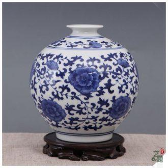 Art show of jingdezhen porcelain vase traditional blue and white vase furnishing articles mesa round neck vase decorate sitting room ground