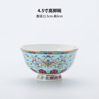 Dishes household single-unit combinatorial jingdezhen Chinese luxury high-grade palace colored enamel porcelain tableware bone hotel table
