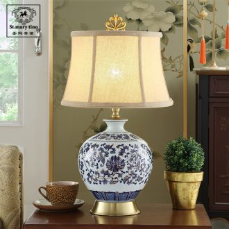 New Chinese style fine ceramic desk lamp light colour light blue and white porcelain of bedroom the head of a bed luxury classical full copper American country lamp