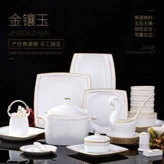 Jingdezhen tableware suit household European square dishes ceramic creative phnom penh dish combination of pure luxury