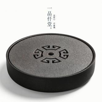 Yipin company contracted sharply stone tea tray # ceramic water circular tray Japanese pot adopt dry coarse pottery tea bubble