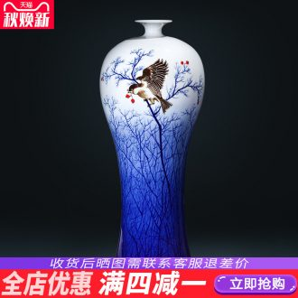 Jingdezhen ceramics antique hand-painted blue and white porcelain vases, flower arrangement of new Chinese style wine rich ancient frame ornaments furnishing articles