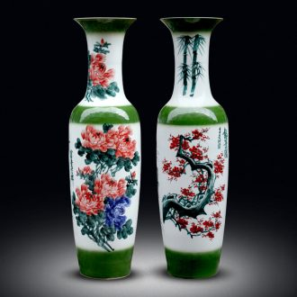Jingdezhen ceramics of large vases, hand-painted peony plum flower carving shadow qdu porcelain sitting room adornment is placed