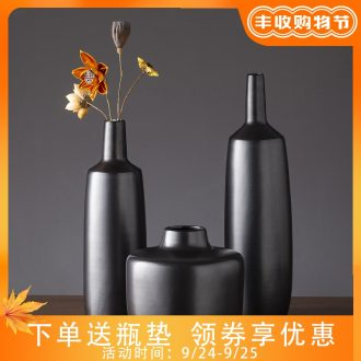The new 2019 jingdezhen ceramic vases, contemporary and contracted black zen pure manual pull PI sitting room art furnishing articles